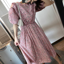Dress Spring 2020 Cherry Pink S,M,L Mid length dress singleton  Short sleeve street square neck Elastic waist Animal design Socket Pleated skirt bishop sleeve Type A Afu family Pleating, pleating, lace up, zipper, 3D, printing AF-Q004272TZ 71% (inclusive) - 80% (inclusive) Chiffon cotton