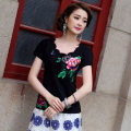T-shirt Black, white, red, green M,L,XL,2XL,3XL,4XL,5XL,6XL Summer 2020 Short sleeve Self cultivation Regular routine commute cotton 86% (inclusive) -95% (inclusive) ethnic style literature Geometric pattern Su Yi embroidery Embroidery