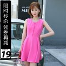 Dress Summer of 2019 Plum blossom XS S M L Middle-skirt singleton  Short sleeve Sweet other middle-waisted Socket A-line skirt routine Others 25-29 years old Type A DOOC 81% (inclusive) - 90% (inclusive) polyester fiber Polyester fiber 86.2% polyurethane elastic fiber (spandex) 13.8% college