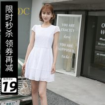 Dress Summer of 2019 white S M L XL Middle-skirt singleton  Short sleeve Sweet Crew neck middle-waisted A-line skirt other 25-29 years old Type A DOOC G62120 More than 95% cotton Cotton 100% college Pure e-commerce (online only)