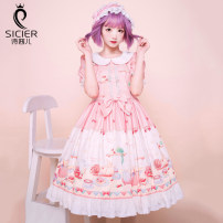 Dress Summer 2020 Pink S,M,L,XL Mid length dress singleton  Short sleeve Sweet Doll Collar High waist Cartoon animation Socket Princess Dress Princess sleeve Others 18-24 years old Type A Sicier / sissier Ruffles, lace, prints SCR-2020OP-BFBEAR More than 95% brocade polyester fiber Lolita