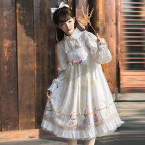Dress Autumn of 2019 S,L Mid length dress singleton  Sleeveless Sweet One word collar High waist Animal design Socket Princess Dress Princess sleeve camisole 18-24 years old Type A Sicier / sissier 71% (inclusive) - 80% (inclusive) brocade polyester fiber Lolita