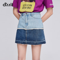 skirt Spring of 2019 XS S M L blue Short skirt commute Natural waist A-line skirt Type A 25-29 years old 91% (inclusive) - 95% (inclusive) Denim d'zzit cotton Splicing Retro Cotton 94% other 6% Same model in shopping mall (sold online and offline)