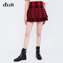 skirt Winter of 2018 XS S M oxblood red Short skirt Retro High waist Pleated skirt lattice Type A 25-29 years old 51% (inclusive) - 70% (inclusive) other d'zzit polyester fiber Splicing Polyester 65% cotton 35% Same model in shopping mall (sold online and offline)