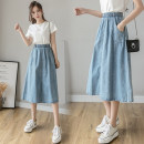skirt Summer 2020 S M L XL Blue 9302 - Blue Mid length dress Versatile High waist Denim skirt Solid color Type A 18-24 years old Y - nine thousand three hundred and three More than 95% Denim Yasuen other Other 100% Pure e-commerce (online only)