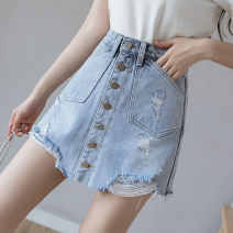 skirt Spring 2021 S M L XL blue Short skirt Versatile High waist A-line skirt Solid color Type A 18-24 years old YF-167 More than 95% Denim Yasuen other Other 100% Pure e-commerce (online only)