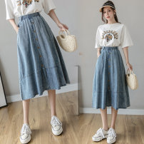 skirt Summer 2021 S M L XL Picture color Mid length dress Versatile High waist A-line skirt Solid color Type A 18-24 years old More than 95% Denim Yasuen other Other 100% Pure e-commerce (online only)