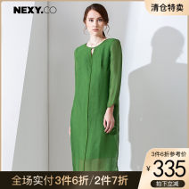 Dress Summer 2017 green 36/S 38/M 40/L 42/XL 44/XXL Mid length dress singleton  Short sleeve commute V-neck High waist Solid color zipper A-line skirt routine Others 35-39 years old Type H NEXY.CO/ Naikou Simplicity More than 95% other other Other 100%