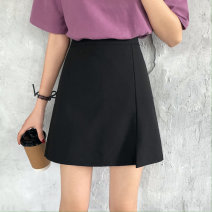 skirt Summer 2020 S,M,L,XL,2XL,3XL black Short skirt commute High waist A-line skirt Solid color Type A 18-24 years old 30% and below other polyester fiber Korean version