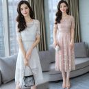 Dress Summer of 2019 White, black, pink S,M,L,XL,2XL Mid length dress Two piece set Short sleeve commute Crew neck middle-waisted Solid color zipper A-line skirt other Others Type A Korean version Gouhua, hollow out, stitching, zipper, lace 71% (inclusive) - 80% (inclusive) Lace