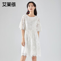 Dress Spring 2020 Ben is white and scarlet 165 155 160 170 Mid length dress Short sleeve Crew neck High waist Solid color Socket A-line skirt Princess sleeve Others 25-29 years old Real / Ailey 6019AA28109-179763 31% (inclusive) - 50% (inclusive) nylon