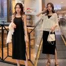 Dress TUN SPICY black M,L,XL,XXL Korean version Short sleeve Medium length summer Crew neck Dot viscose  yf.20