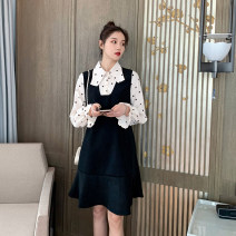 Dress other black M,L,XL,XXL Korean version Long sleeves Medium length spring Crew neck Solid color Pure cotton (95% and above) yf.14