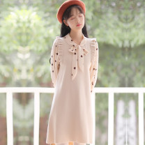 Dress Spring 2021 Black (fake two), apricot (fake two), red (fake two), blue (fake two) S,M,L,XL Mid length dress Fake two pieces Long sleeves Sweet V-neck High waist Dot Princess Dress pagoda sleeve Others 18-24 years old Type A Lace, lace, stitching, bandage polyester fiber Mori