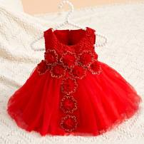 Dress Red H06, ab01 red (hair accessories), ab01 white (hair accessories) female Other / other 80cm,90cm,100cm,110cm,120cm,130cm Other 100% All seasons princess Skirt / vest Solid color other A-line skirt other Chinese Mainland