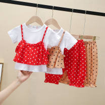 suit Other / other Picture color red wave point sling suit, picture color apricot wave point sling suit 80cm,100cm,110cm,120cm,130cm female summer princess Sleeveless + pants 2 pieces routine No model Socket Dot blending Chinese Mainland