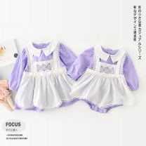 Jumpsuit / climbing suit / Khaki Gardenia blossoms Class A female Purple Princess Dress Purple Princess Dress 66cm 73cm 80cm 90cm 100cm 110cm cotton spring and autumn Long sleeves Trigonometry princess There are models in the real shooting nothing Cotton 100% Single breasted DY2031009 Autumn 2020
