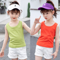 Vest sling Fruit green yellow orange white pink black Knitted vest 110 120 130 140 150 160 summer Meichun (clothing) female There are models in the real shooting leisure time Solid color Crew neck nothing Cotton blended fabric Cotton 95% polyurethane elastic fiber (spandex) 5% Waistcoat Class B