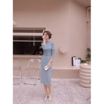 Women's large Winter 2020 blue S M L XL XXL Dress singleton  commute Self cultivation moderate Socket Long sleeves Solid color Korean version Crew neck routine cotton routine DY2080 Daiyan 18-24 years old 96% and above longuette Polyester 100% Exclusive payment of tmall other
