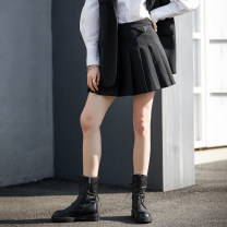 skirt Spring 2021 S M L black Short skirt street High waist Pleated skirt 25-29 years old LD801045 51% (inclusive) - 70% (inclusive) Teendi polyester fiber Button Polyester 70% wool 30% Exclusive payment of tmall Europe and America