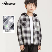 Plain coat male 110cm 120cm 130cm 140cm 150cm 160cm spring and autumn leisure time Single breasted There are models in the real shooting routine Detachable cap Check pattern cotton Lapel Cotton 100% Class B Spring 2021