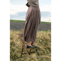 skirt Autumn 2020 S M L XL Grey Pink rust red Mid length dress commute Natural waist 35-39 years old 203WQ1011 51% (inclusive) - 70% (inclusive) Pastoral Tour hemp literature 70% Silk 30% flax Pure e-commerce (online only)