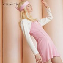 Dress Summer 2021 Pink Black S M L Mid length dress Sweet 25-29 years old Ozlana AU219024 91% (inclusive) - 95% (inclusive) cotton Cotton 92% polyurethane elastic fiber (spandex) 8% princess Pure e-commerce (online only)