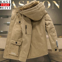 Jacket Fashion City M L XL 2XL 3XL 4XL 5XL 6XL Plush and thicken easy Travel? winter Cotton 100% Long sleeves Wear out Detachable cap Business Casual middle age Medium length Zipper placket Cloth hem No iron treatment Closing sleeve Solid color Washable cotton cloth Winter of 2019 More than two bags)