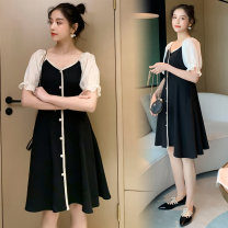 Dress The charm of Dai Chu Black skirt + black safety Pants Black Skirt M L XL XXL Korean version Short sleeve Medium length summer V-neck other 1858#