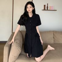 Women's large Korean version routine Summer 2021 commute singleton  Dress Short skirt d5115 Short sleeve Solid color Polo collar Cardigan Self cultivation Yidu other Stereoscopic cutting Bandage Other 100% Pure e-commerce (online sales only) black