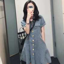 Women's large other Short sleeve CQ325Q4 Cardigan Polo collar Yidu Medium and long term Other 100% Pure e-commerce (online sales only) Summer 2021 Dress singleton  commute moderate easy lattice Retro Stereoscopic cutting Button Picture color