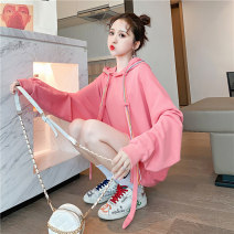 Women's large Autumn 2020 Pink Blue M (suitable for 80-110 kg) l (suitable for 111-140 kg) XL (suitable for 141-170 kg) Sweater / sweater singleton  commute easy thin Socket Long sleeves Solid color Korean version Hood Medium length cotton routine hl1464 Iluoyu 25-29 years old pocket