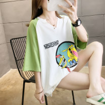 Women's large Summer 2020 Yellow green blue black M (suitable for 80-115 kg) l (suitable for 116-135 kg) XL (suitable for 136-165 kg) XXL (suitable for 166-200 kg) T-shirt singleton  commute easy Socket Short sleeve Cartoon shape letters Korean version Crew neck routine Polyester cotton Chloroprene