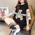 Women's large Summer 2021 black M (suitable for 80-100 kg) l (suitable for 100-120 kg) XL (suitable for 120-140 kg) T-shirt Fake two pieces commute easy thin Socket Short sleeve Cartoon letter Korean version Crew neck Medium length Polyester polyester cotton printing and dyeing routine hl3421 Iluoyu