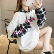Women's large Spring 2020 White grey black Sweater / sweater Fake two pieces commute easy moderate Socket Long sleeves letter Korean version Hood routine polyester routine Iluoyu 25-29 years old Polyester 100% Pure e-commerce (online only)