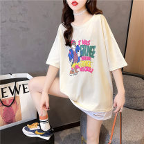 Women's large Spring 2021 Apricot Orange Black M L XL XXL T-shirt Fake two pieces commute easy thin Socket Short sleeve Cartoon letters Korean version Crew neck Medium length cotton routine hl3006 Iluoyu 25-29 years old hole Polyester 75% cotton 25% Pure e-commerce (online only)