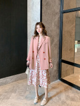 Women's large Autumn 2020 Other oversize styles Two piece set commute easy moderate Long sleeves Solid color Korean version routine Polyester cotton Three dimensional cutting routine Luoshang light man 25-29 years old Button 96% and above Other 100% Pure e-commerce (online only)