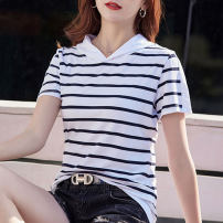 T-shirt White, royal blue S,M,L,XL,2XL,3XL Summer 2021 Short sleeve Hood Straight cylinder Regular routine commute cotton 71% (inclusive) - 85% (inclusive) Korean version Thin horizontal stripe Pinge Dixin