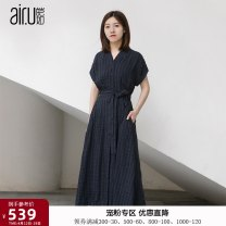 Dress Summer 2020 Dark blue stripe 34/S 36/M 38/L 40/XL 42/XXL Mid length dress Two piece set Short sleeve V-neck High waist stripe A-line skirt routine Others 25-29 years old Type A Air. U / AI Ru B192L985 31% (inclusive) - 50% (inclusive) hemp Viscose 61% flax 39%