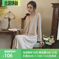Nightdress Haizi is blue Picture color 155(S),160(M),165(L),170(XL) sexy Long sleeves pajamas longuette spring Solid color youth V-neck viscose  More than 95% viscose  HZZ0112 380g