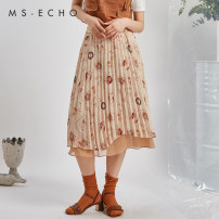skirt Summer 2020 Average size Decor longuette commute High waist A-line skirt Decor Type A 25-29 years old QC20202-B More than 95% MS-Echo polyester fiber printing Polyester 100%