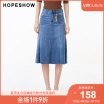 skirt Autumn of 2019 XS S M L XL XXL Denim 071 Mid length dress grace Natural waist A-line skirt Solid color Type A 25-29 years old 89119261SC503C More than 95% Hopeshow  cotton Cotton 98.9% polyurethane elastic fiber (spandex) 1.1% Same model in shopping mall (sold online and offline)