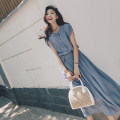 Women's large Summer 2020 Black [skirt for fat people / popular] yellow [New Taiwan dress temperament] blue [light mature dress] S (within 90 kg) m (90 kg-105 kg) l (105-120 kg) XL (120-135 kg) 2XL (135-150 kg) 3XL (150-165 kg) 4XL (165-180 kg) Dress singleton  Sweet easy moderate Socket elbow sleeve