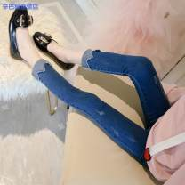 trousers Simba monkey female 110cm 120cm 130cm 140cm 150cm Blue Plush spring and autumn trousers Korean version There are models in the real shooting Jeans Leather belt middle-waisted Cotton blended fabric Don't open the crotch Cotton 60% other 40% 896b8dff-5