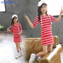 Dress Navy x hooded striped skirt red x hooded striped skirt black x hooded striped skirt white milk silk lotus leaf skirt female Simba monkey 90cm 100cm 110cm 120cm 130cm 140cm 150cm Other 100% spring and autumn leisure time Long sleeves stripe cotton other 0622134775614-ad59793a-3 other