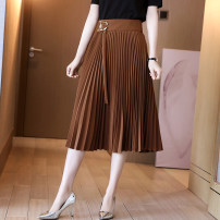 skirt Summer 2021 S M L XL Brown Black Mid length dress commute High waist Pleated skirt Solid color Type A 30-34 years old 81% (inclusive) - 90% (inclusive) Ge yanxuan polyester fiber Pleated lace up zipper Ol style Polyester fiber 90% polyurethane elastic fiber (spandex) 10%
