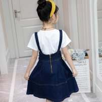 Dress Denim skirt + T-shirt (suit) female Other / other 120cm,130cm,140cm,150cm,160cm Other 100% summer leisure time Strapless skirt Strapless skirt 10 years old