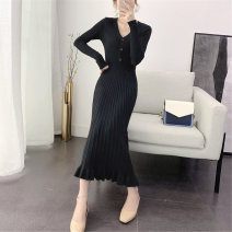 Dress Winter of 2019 Apricot Avocado Green Khaki Black Pink S M L XL Mid length dress singleton  Long sleeves commute V-neck High waist Solid color Socket A-line skirt routine Others 18-24 years old Type A Dacha yarn Korean version 30% and below knitting polyester fiber