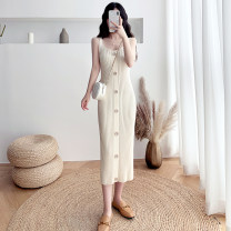 Vest sling Autumn 2020 Black apricot Khaki haze blue taro purple S M L singleton  Medium length Self cultivation camisole Solid color 18-24 years old 30% and below acrylic fibres Dacha yarn Pure e-commerce (online only)