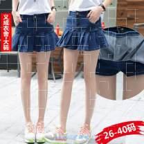 skirt Summer 2016 26,27,28,29,30,31,32,33,34,36,38,40 navy blue Short skirt Versatile Natural waist Denim skirt Solid color Type A 18-24 years old 71% (inclusive) - 80% (inclusive) Denim Other / other cotton Ruffles, ruffles, pockets, waves, buttons